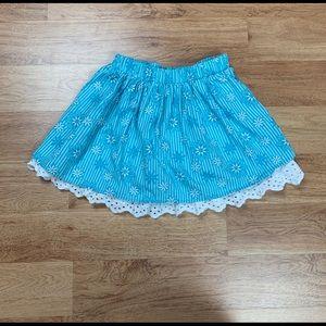 Disney Girls Snowflakes Stripe Eyelet Lace Skirt